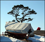 Hibernating boat on a small island close to where we live