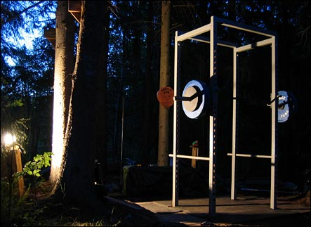 Illuminated gym in the middle of the night